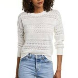 525 delicate pointelle knit crew neck sweater